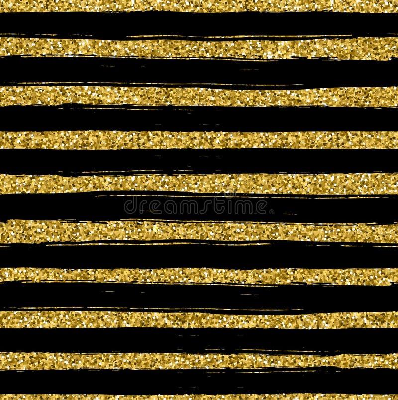 Guld- blänka texturlinjen på sömlös modell för svart bakgrund royaltyfri illustrationer