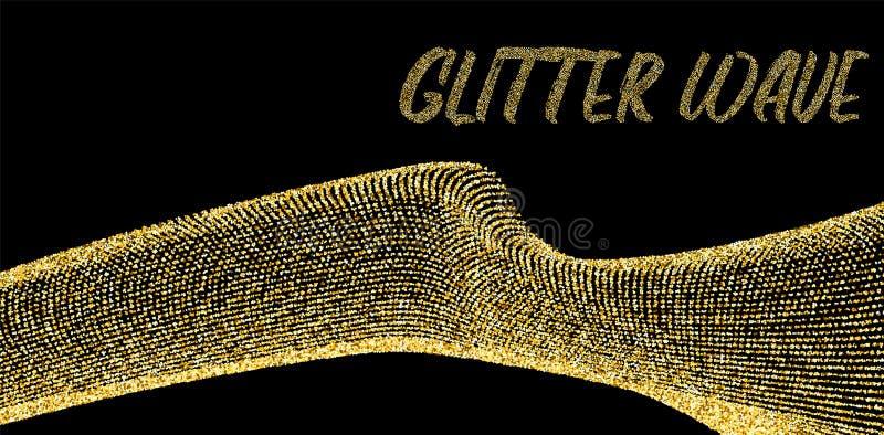 Guld- blänka vågen på mörk vektormall stock illustrationer