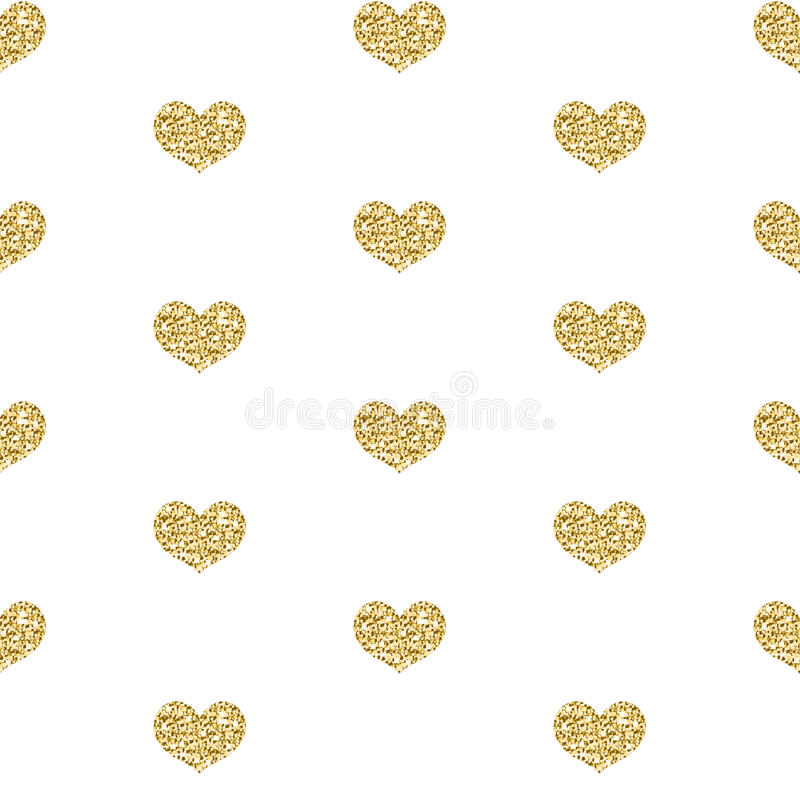 Guld blänker den sömlösa modellen för hjärta på vit bakgrund Ändlös bakgrund för glänsande hjärta, textur vektor royaltyfri illustrationer