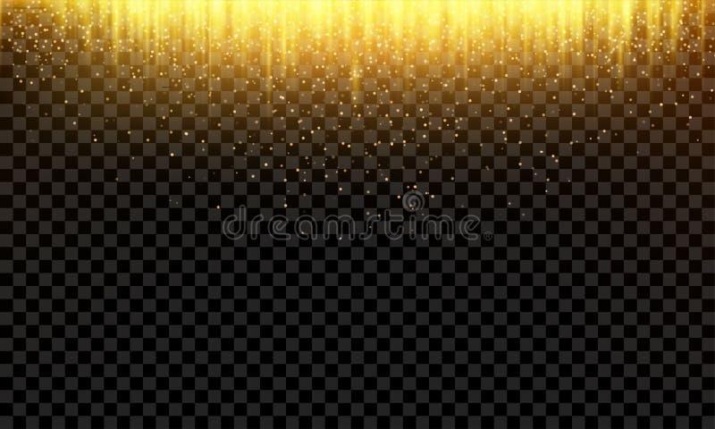 Guld- blänker falla för abstrakt vektor bakgrund stock illustrationer