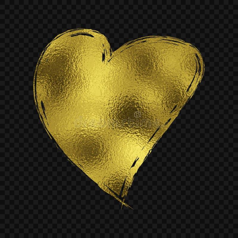 Guld blänker hjärta stock illustrationer