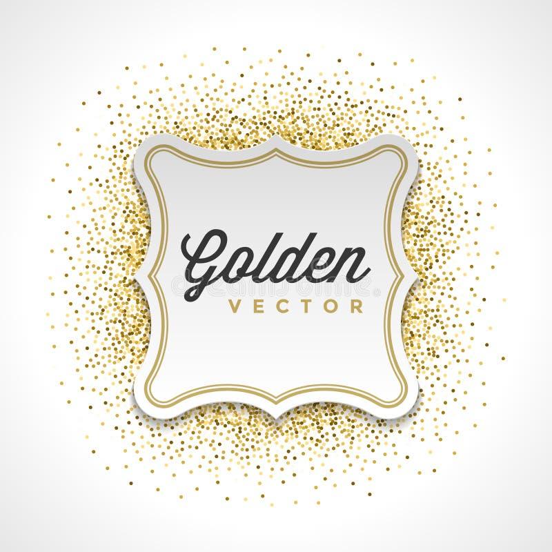 Guld blänker mousserar ljus bakgrund för vektorn för ramen för konfettivitboketiketten stock illustrationer