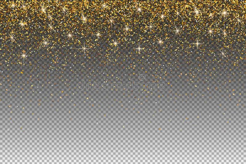 Guld blänker partiklar på genomskinlig bakgrund Ljus skiner e vektor illustrationer