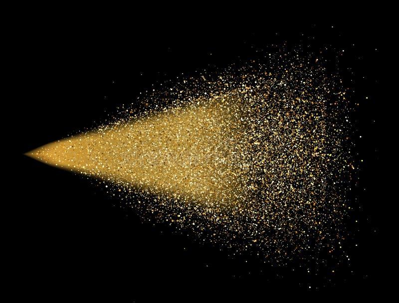 Guld blänker sprej på svart bakgrund Glödande droppar i rörelse Guld- magiska partiklar för ljus för stjärnadamm Ljust blänka exp vektor illustrationer