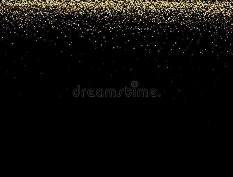 Guld blänker textur på en svart bakgrund Guld- explosion av konfettier Guld- abstrakt textur på en svart bakgrund royaltyfri illustrationer