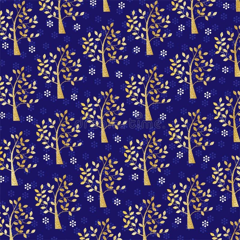 Guld blänker träd- och snöflingamodellen på blått royaltyfri illustrationer