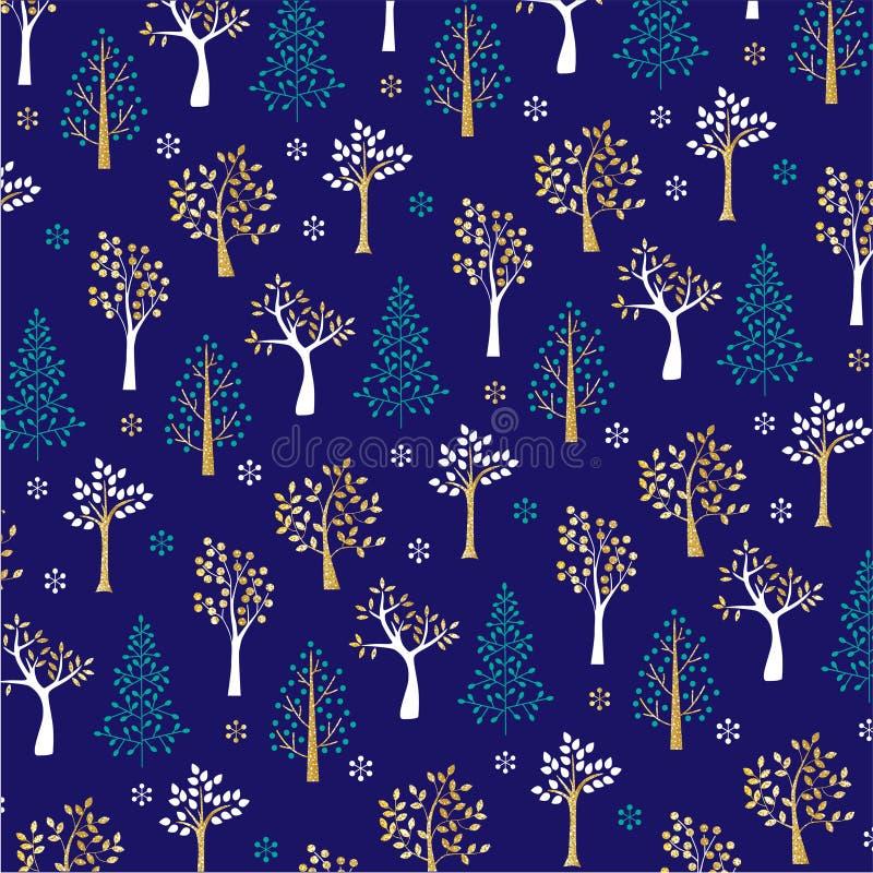 Guld blänker vinterträdmodellen på blått stock illustrationer
