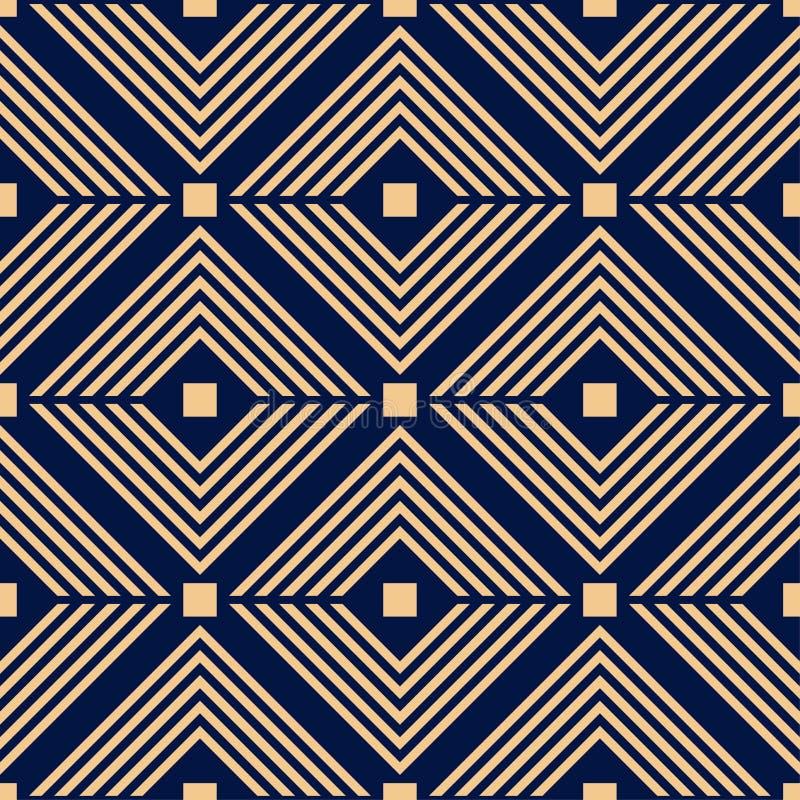 Guld- blå geometrisk prydnad seamless modell vektor illustrationer