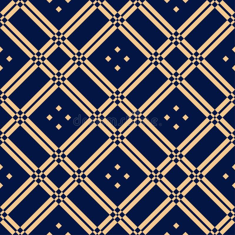 Guld- blå geometrisk prydnad seamless modell royaltyfri illustrationer