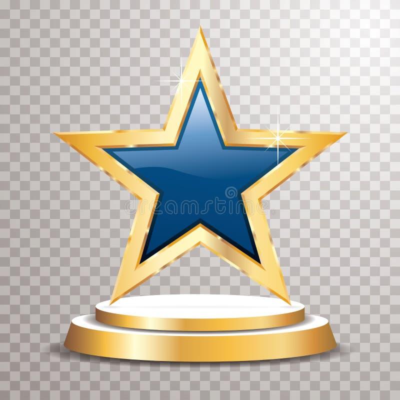 Guld- blått för podiumstjärna royaltyfri illustrationer