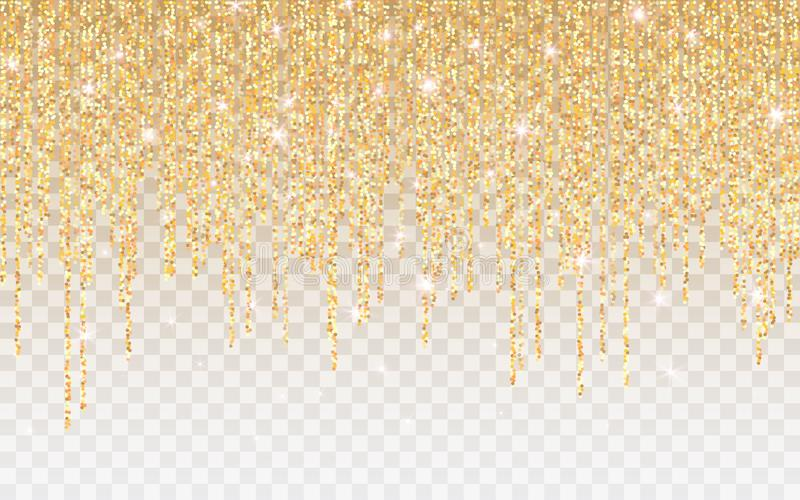 Guld- bl?nka gnistrandet p? en genomskinlig bakgrund Guld- vibrerande bakgrund med glimtljus ocks? vektor f?r coreldrawillustrati royaltyfri illustrationer