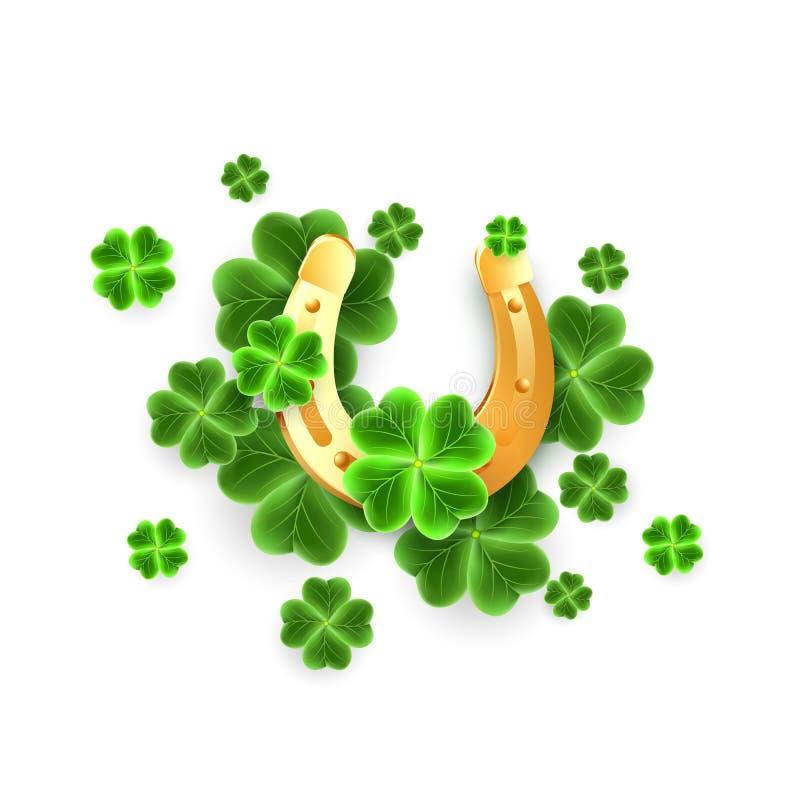 guld- bladsymboler för hästsko 3d och växt av släktet Trifoliumtill San Patricks dagferie Hästsko, lyckliga symboler för treklöve stock illustrationer