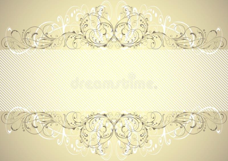 Guld- blom- bakgrundsram vektor illustrationer