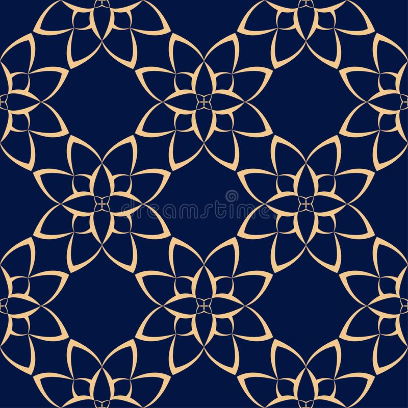 Guld- blom- beståndsdel på mörker - blå bakgrund seamless modell vektor illustrationer