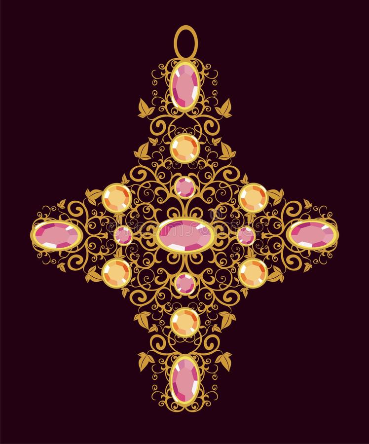 Guld- blom- korsar stock illustrationer