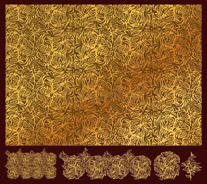 Guld- blom- modell och delar royaltyfri illustrationer