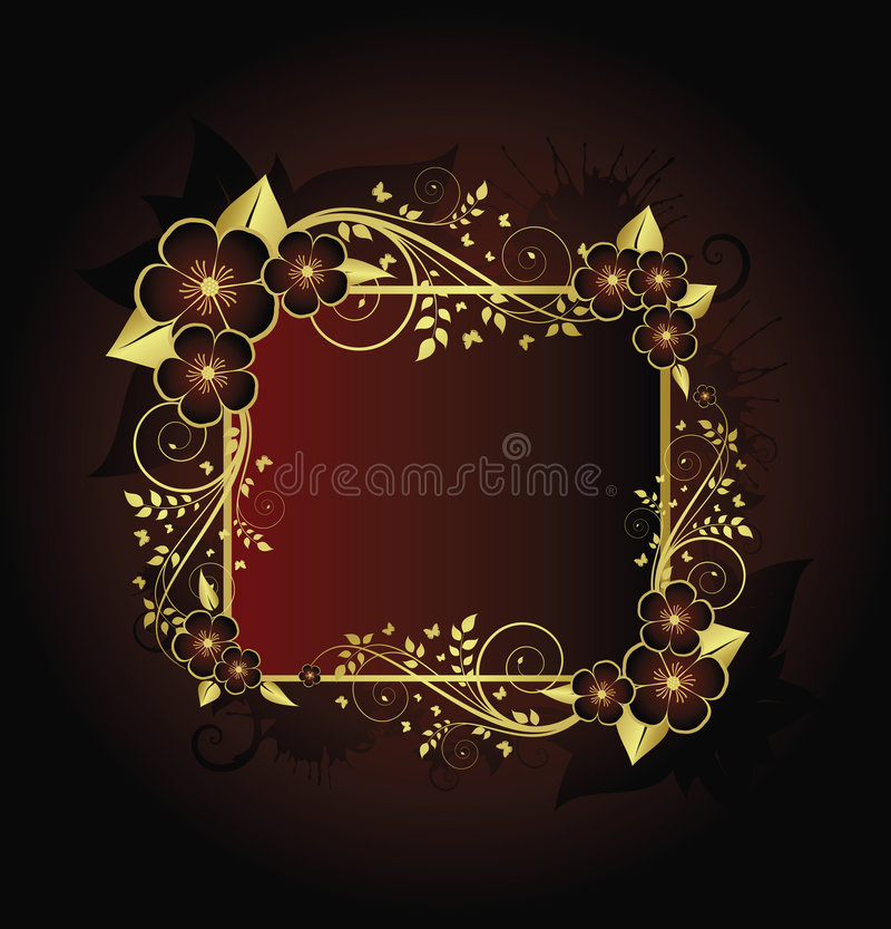 guld- blom- ram royaltyfri illustrationer