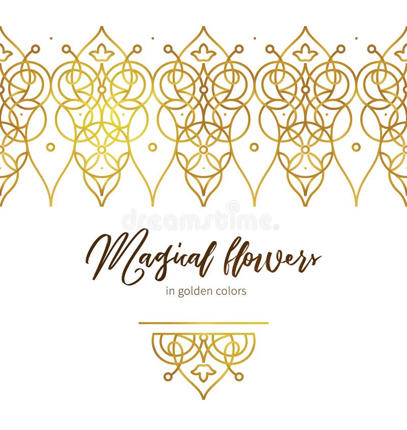 Guld- blom- ram Lyxig gräns i östlig stil royaltyfri illustrationer