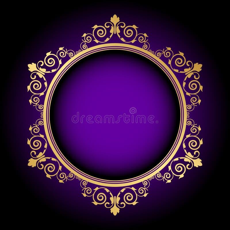 Guld- blom- ram på purpurfärgad bakgrund vektor illustrationer