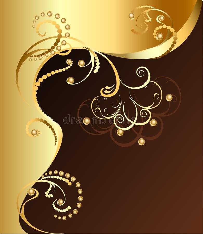 guld- blomma stock illustrationer