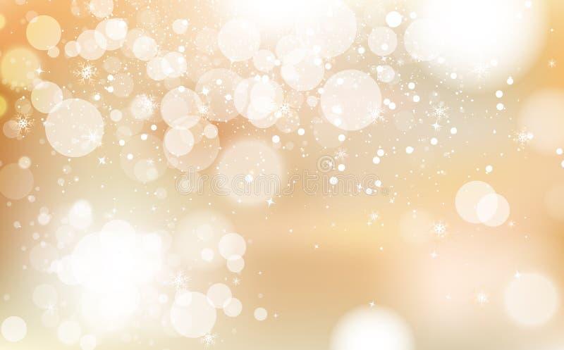 Guld- Bokeh, vinterberömfestival med stjärnor sprider det ljusa glänsande begreppet, snöflingakonfetti som faller, damm, glödande royaltyfri illustrationer