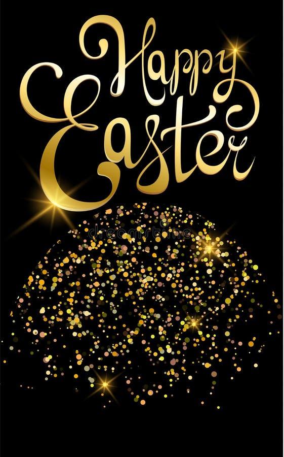 Guld- bokstäver för lycklig påsk Hälsningkort eller affisch för ferie, bokstäver som göras av guld Abstrakt glänsande handgjord k stock illustrationer