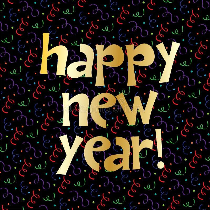 Guld- bokstäver för lyckligt nytt år på konfettier royaltyfri illustrationer