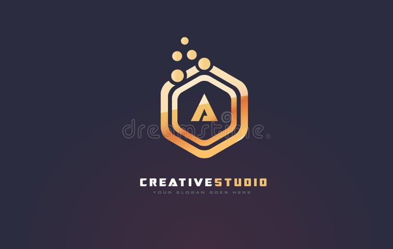 Guld- bokstav en logo En vektor för bokstavsdesign royaltyfri illustrationer