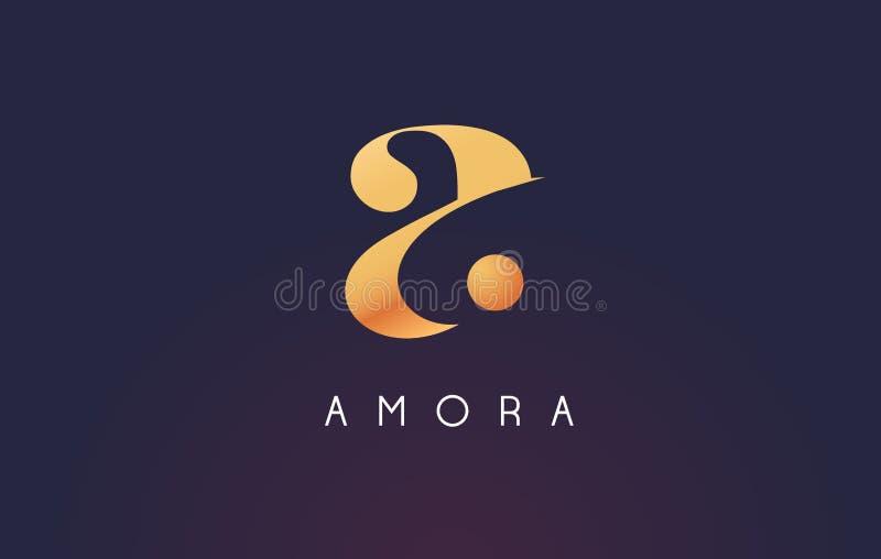 Guld- bokstav en logo En vektor för bokstavsdesign stock illustrationer