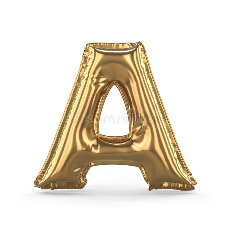 Guld- bokstav A gjorde av den isolerade uppblåsbara ballongen 3d royaltyfri illustrationer