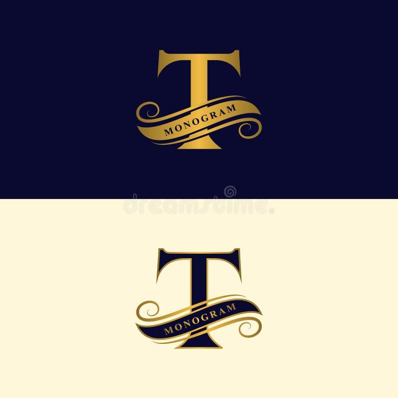 Guld- bokstav T Calligraphic härlig logo med bandet för etiketter Behagfull stil Tappning dragit emblem för bokdesignen, märkesna royaltyfri illustrationer