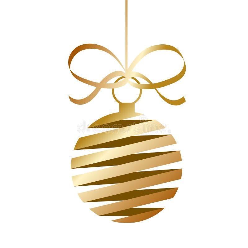 Guld- boll för dekorjulträd med remsor för din design, st stock illustrationer