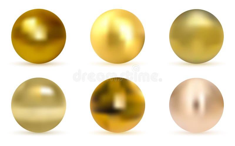 Guld- boll för vektor Realistisk guld- sfär royaltyfri illustrationer