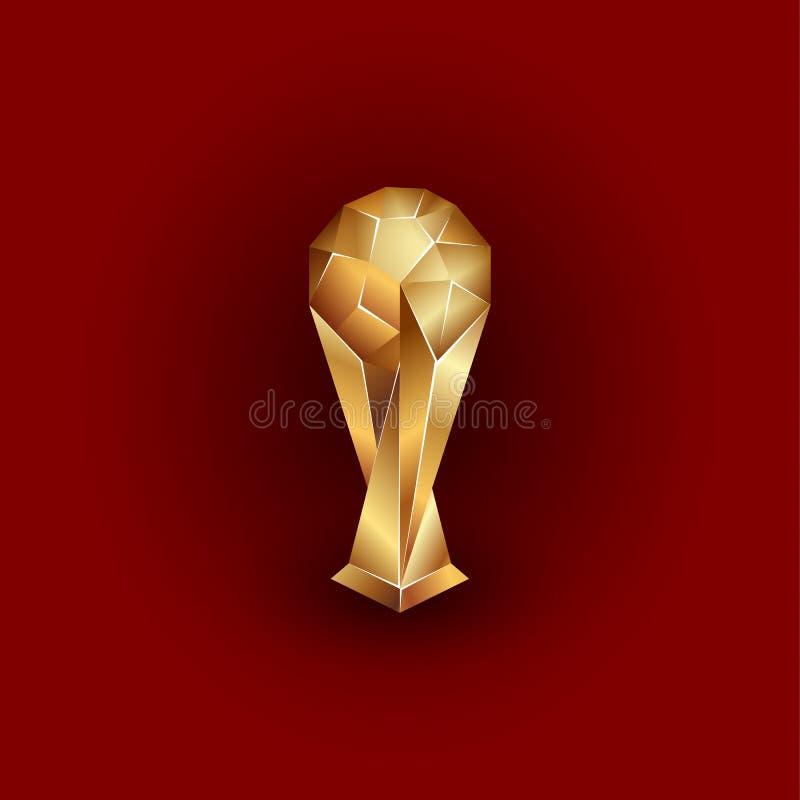 Guld- boll på ställningen Polygonal troféillustration för sportar vektor illustrationer