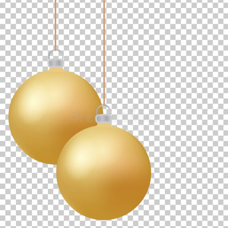 Guld- bollar för klassisk jul med ögonkastet Isolerade för struntsakdesign för nytt år beståndsdelar också vektor för coreldrawil royaltyfri illustrationer