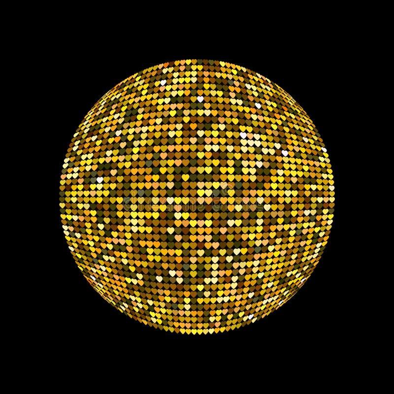 guld- bolldisko Skinande upplyst diskoboll på en mörk bakgrund för designreklambladaffischer och annan Vektorillustration med stock illustrationer