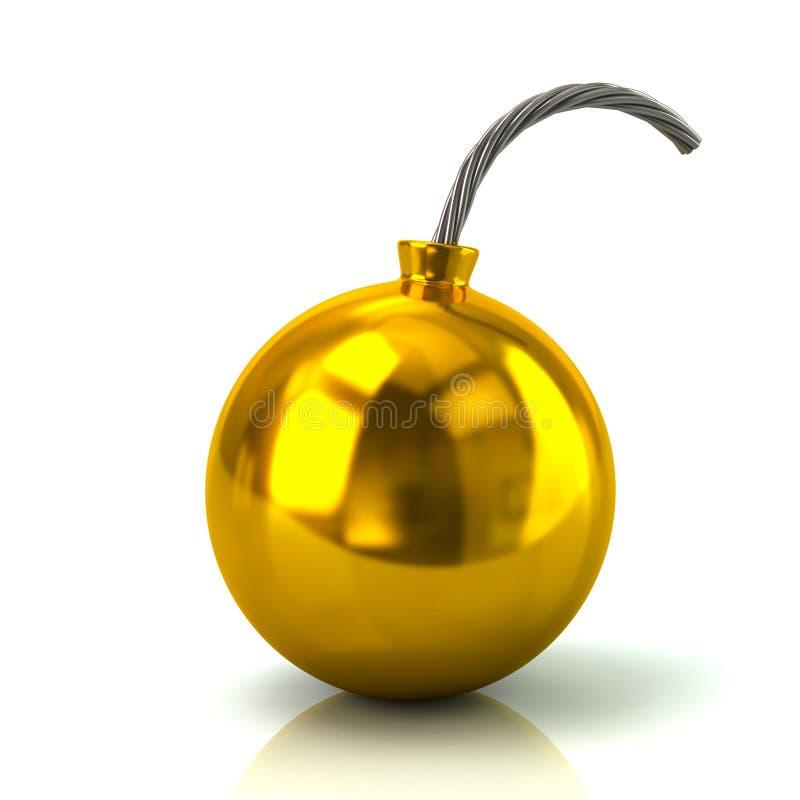 Guld bombarderar illustrationen för symbolen 3d royaltyfri illustrationer