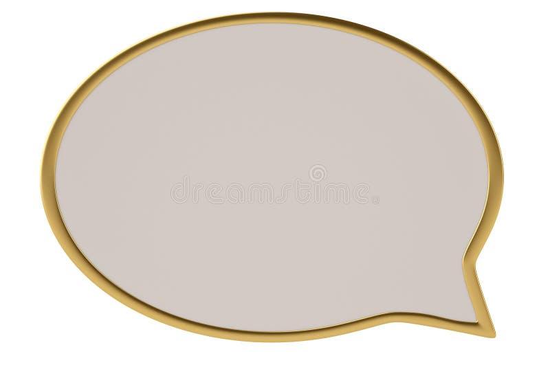 Guld- bräde för dialogask på den vita illustrationen för bakgrund 3D stock illustrationer