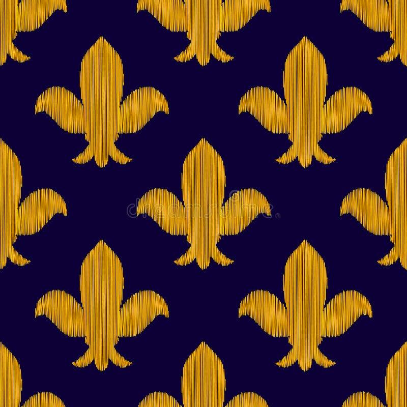 Guld- broderad kunglig liljaprydnad på mörker - blå sömlös modell, vektor vektor illustrationer