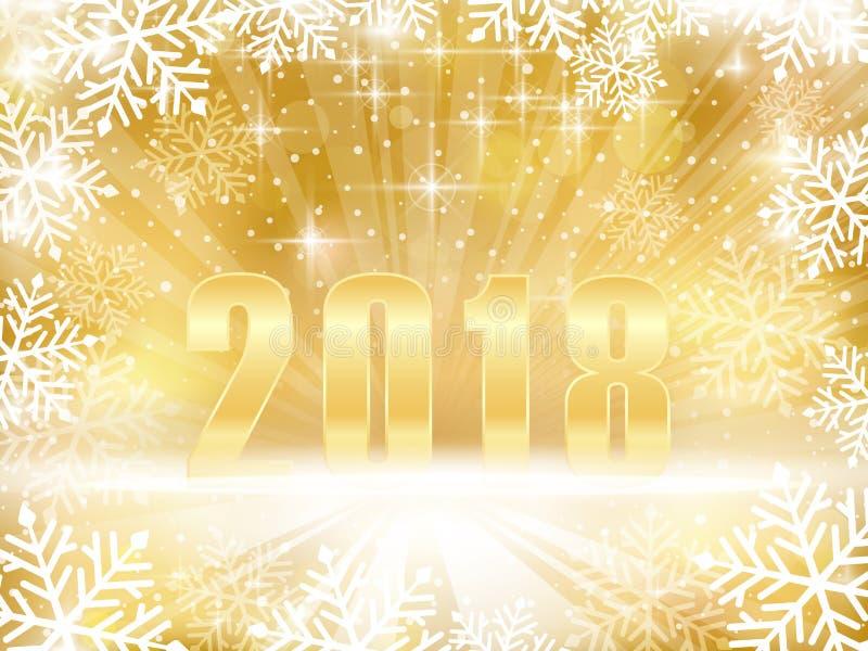 Guld- brusande 2018 nya år, julbakgrund med snowf fotografering för bildbyråer