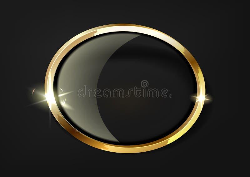 Guld- brusandecirkel med den glass cirkeln som isoleras p? svart lyxig bakgrund royaltyfri illustrationer
