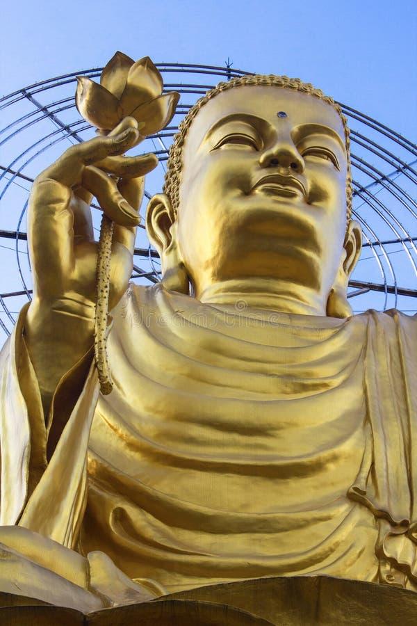 Guld- Buddha med lotusblomma i Dalat arkivfoton