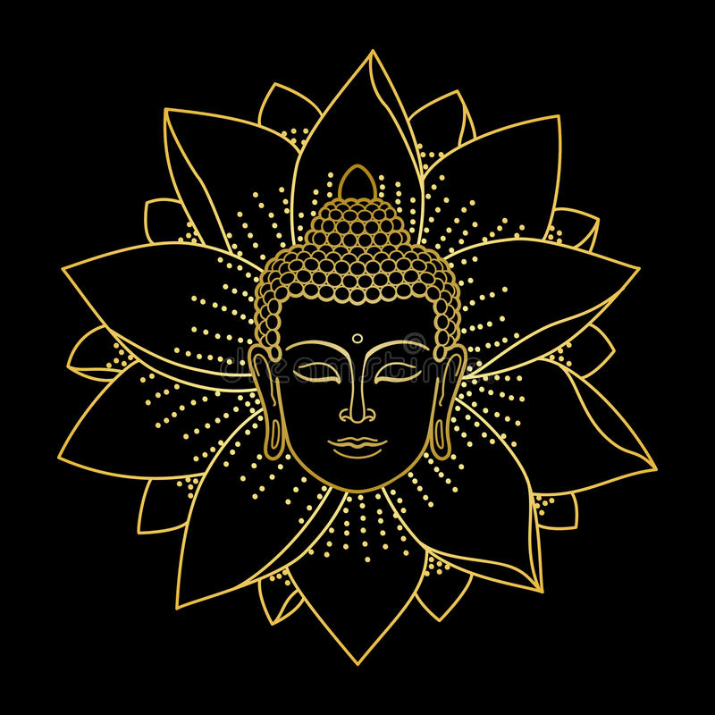 Guld- Buddhahuvud och Lotus vektor illustrationer