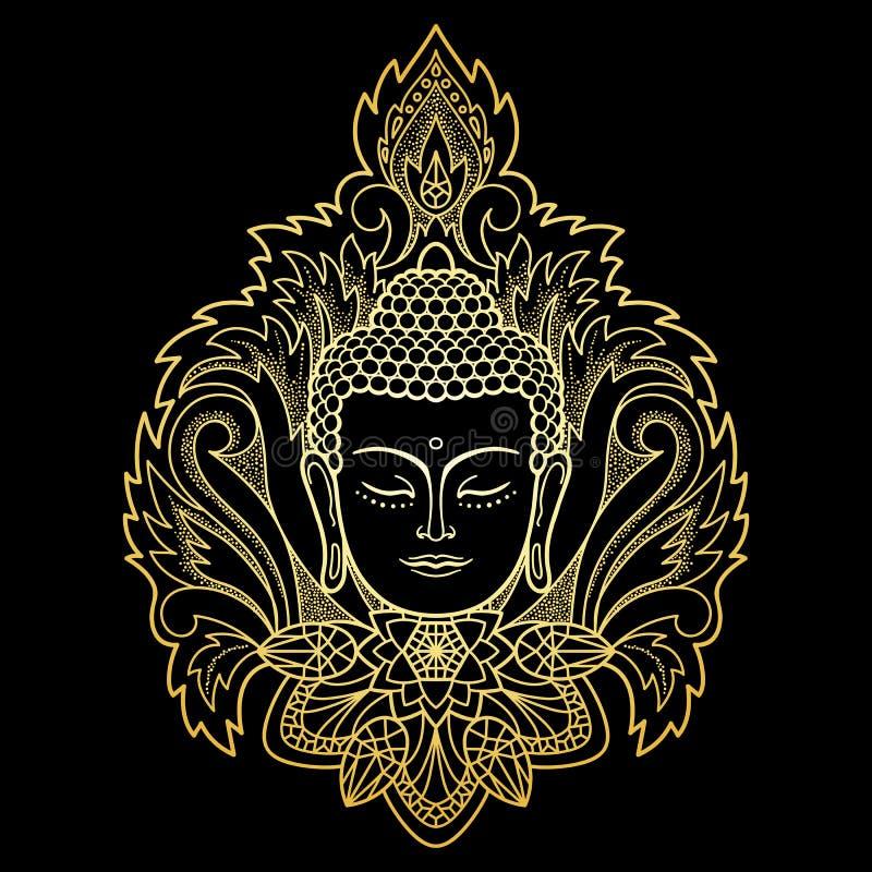 Guld- Buddhahuvud på blom- bakgrund stock illustrationer