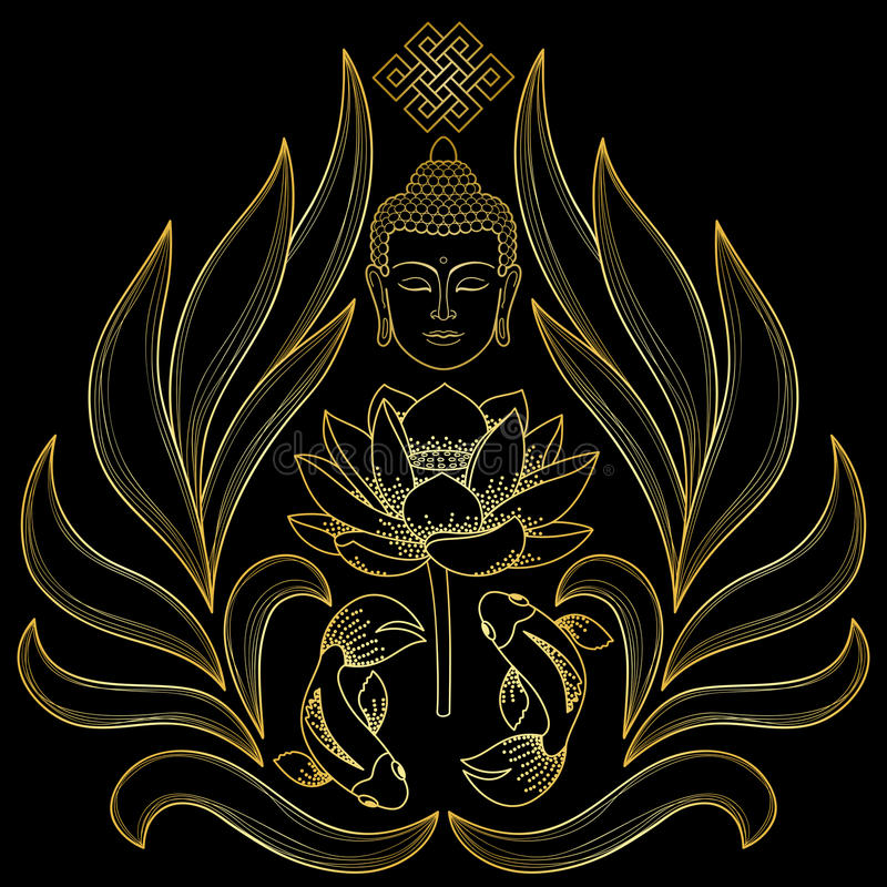 Guld- Buddhamodell stock illustrationer