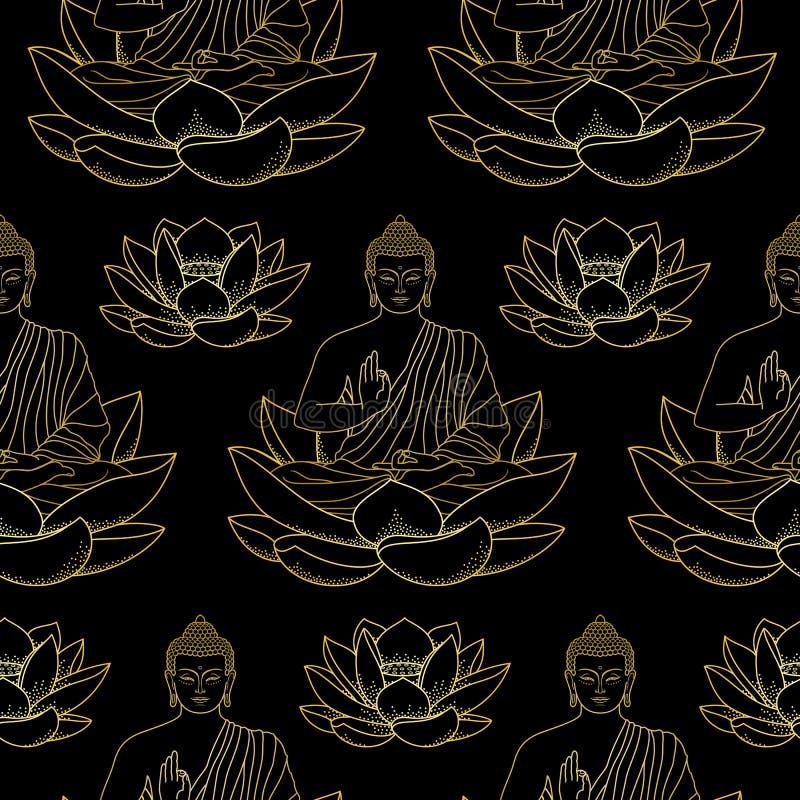 Guld- Buddhasammanträde på Lotus Seamless Pattern royaltyfri illustrationer