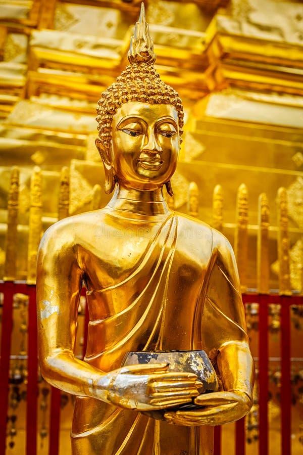 Guld- Buddhastaty i Wat Phra That Doi Suthep royaltyfria bilder