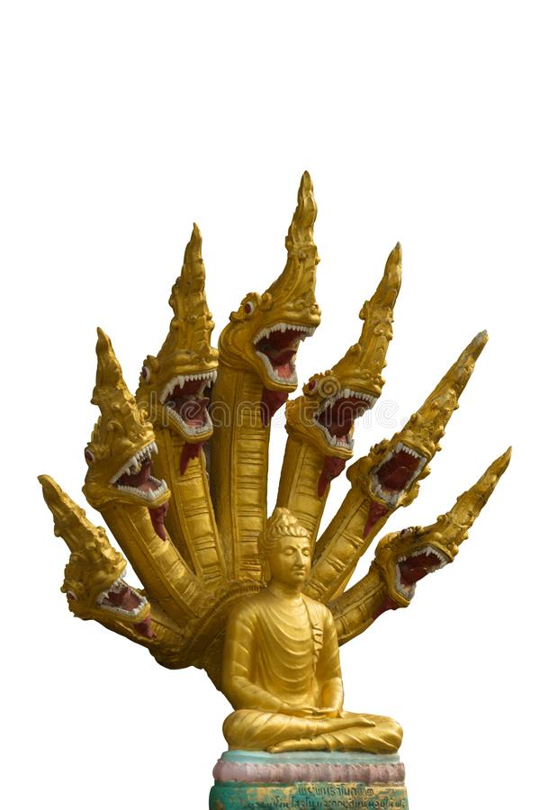Guld- Buddhastatyer som sitter med ormen för sju Naka i thailändska vikarier arkivfoton