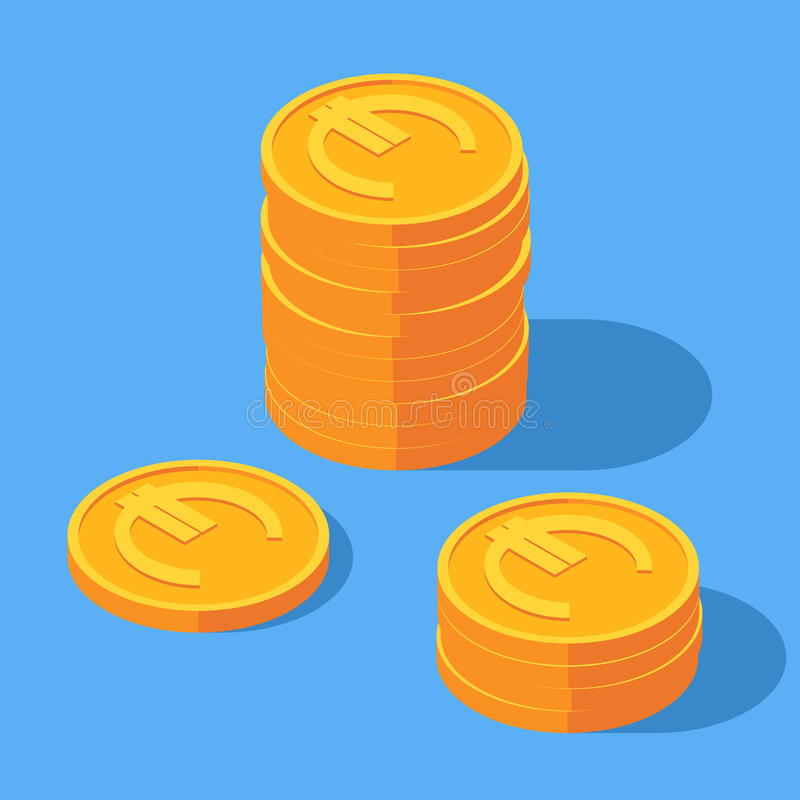 Guld- bunt av euromynt stock illustrationer