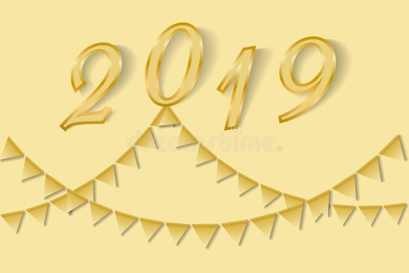 Guld- Bunting för hälsningkortet 2019 för lyckligt nytt år stock illustrationer